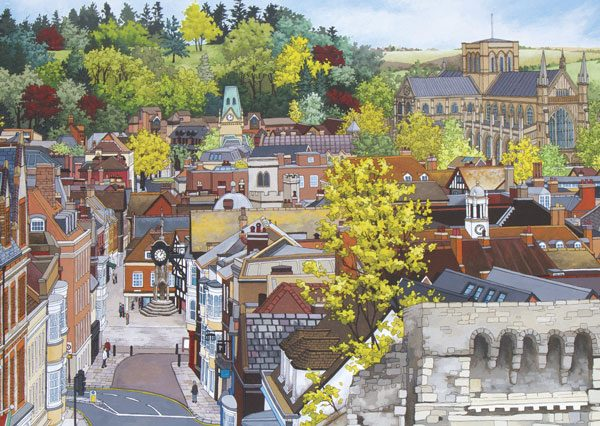 Winchester From the Westgate Postcard - Illustration by Jonathan Chapman