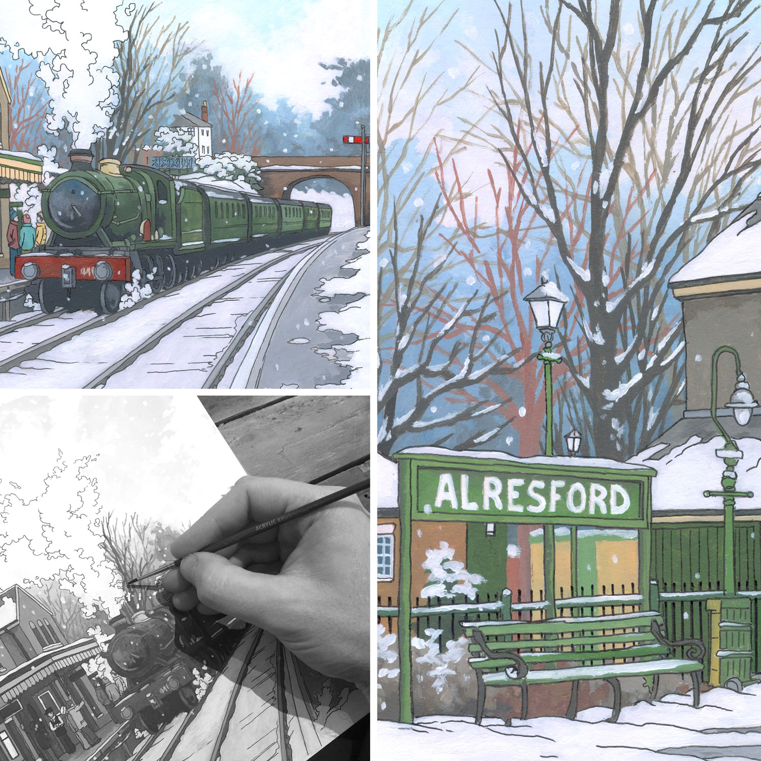 Alresford Steam Engine - Illustration by Jonathan Chapman
