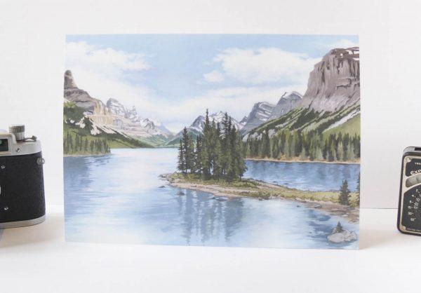 Spirit Island Rocky Mountains Greeting Card - Illustration by Jonathan Chapman