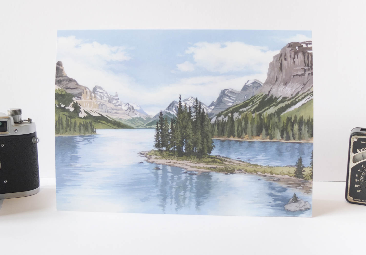Spirit Island Rocky Mountains Greeting Card – Illustration by Jonathan Chapman-2