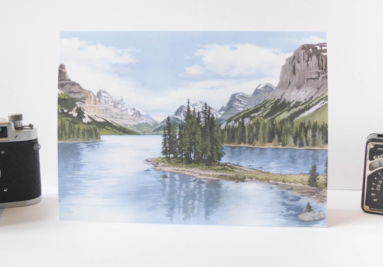 Spirit Island Rocky Mountains Greeting Card – Illustration by Jonathan Chapman-2