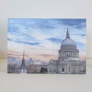 St Pauls Cathedral at Dusk Greeting Card - Illustration by Jonathan Chapman
