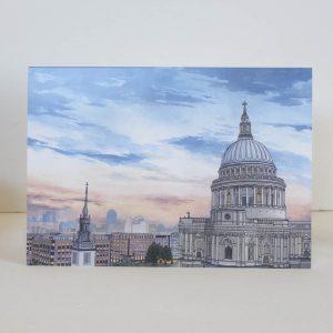 St Pauls Cathedral at Dusk Greeting Card - Illustration by Jonathan Chapman