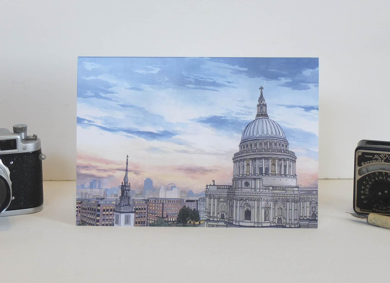 St Pauls Cathedral at Dusk Greeting Card – Illustration by Jonathan Chapman-2