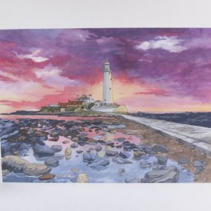 Sunset Over St Mary's Lighthouse Whitley Bay Greeting Card - Illustration by Jonathan Chapman