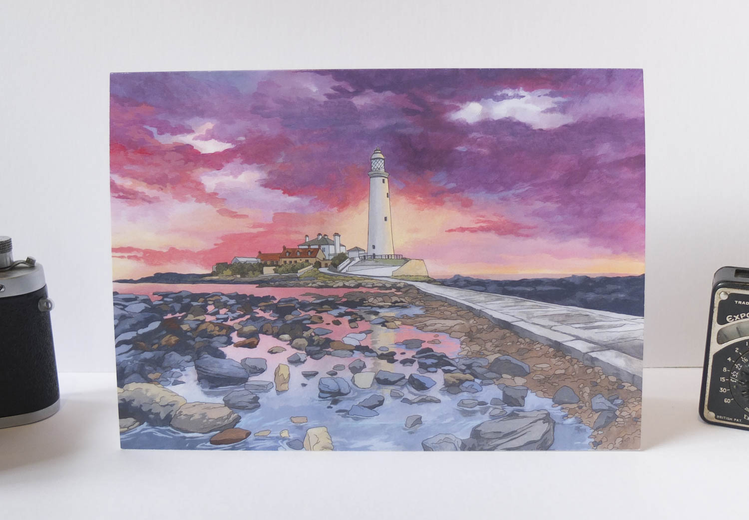 Sunset Over St Mary's Lighthouse Whitley Bay Greeting Card – Illustration by Jonathan Chapman-2