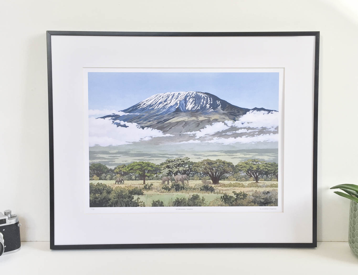 Mt Kilimanjaro, Tanzania Limited Edition Print – Illustration by Jonathan Chapman-2