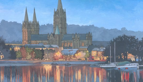 Truro Cathedral in Blue - Illustration by Jonathan Chapman - England Originals