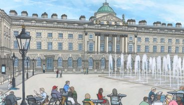 Somerset House in summer - Illustration by Jonathan Chapman