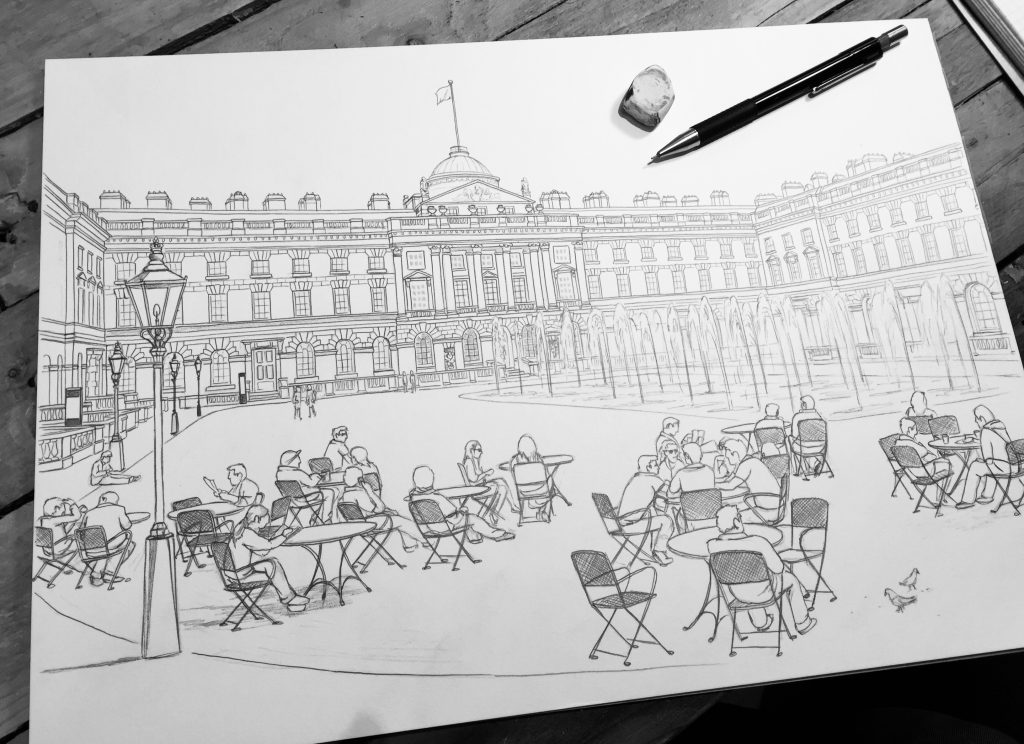 Somerset House in Summer Sketch - Illustration by Jonathan Chapman