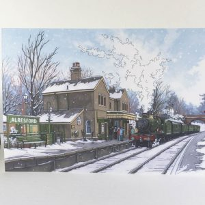 Alresford Steam Engine Greeting Card - Illustration by Jonathan Chapman