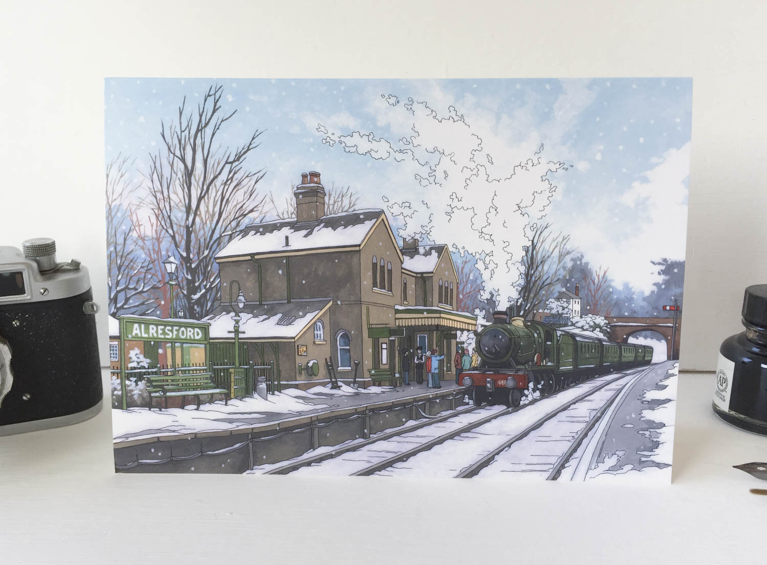 Alresford Steam Engine Greeting Card – Illustration by Jonathan Chapman-2