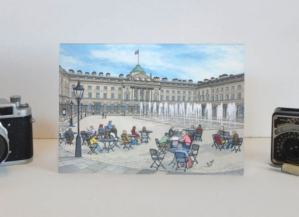 Somerset House in Summer Greeting Card - Illustration by Jonathan Chapman