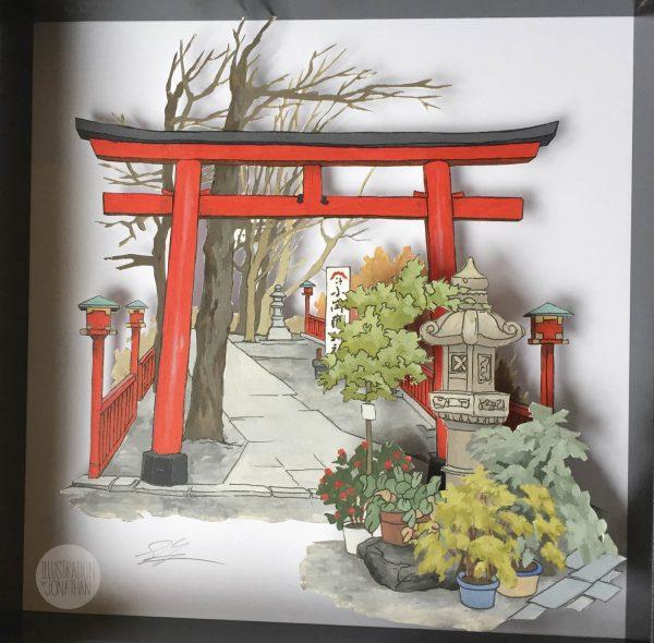 Torii - Illustration and papercut by Jonathan Chapman