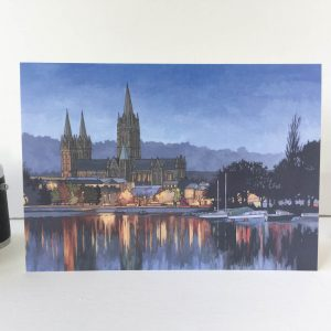 Truro Cathedral in Blue Greeting Card - Illustration by Jonathan Chapman-2
