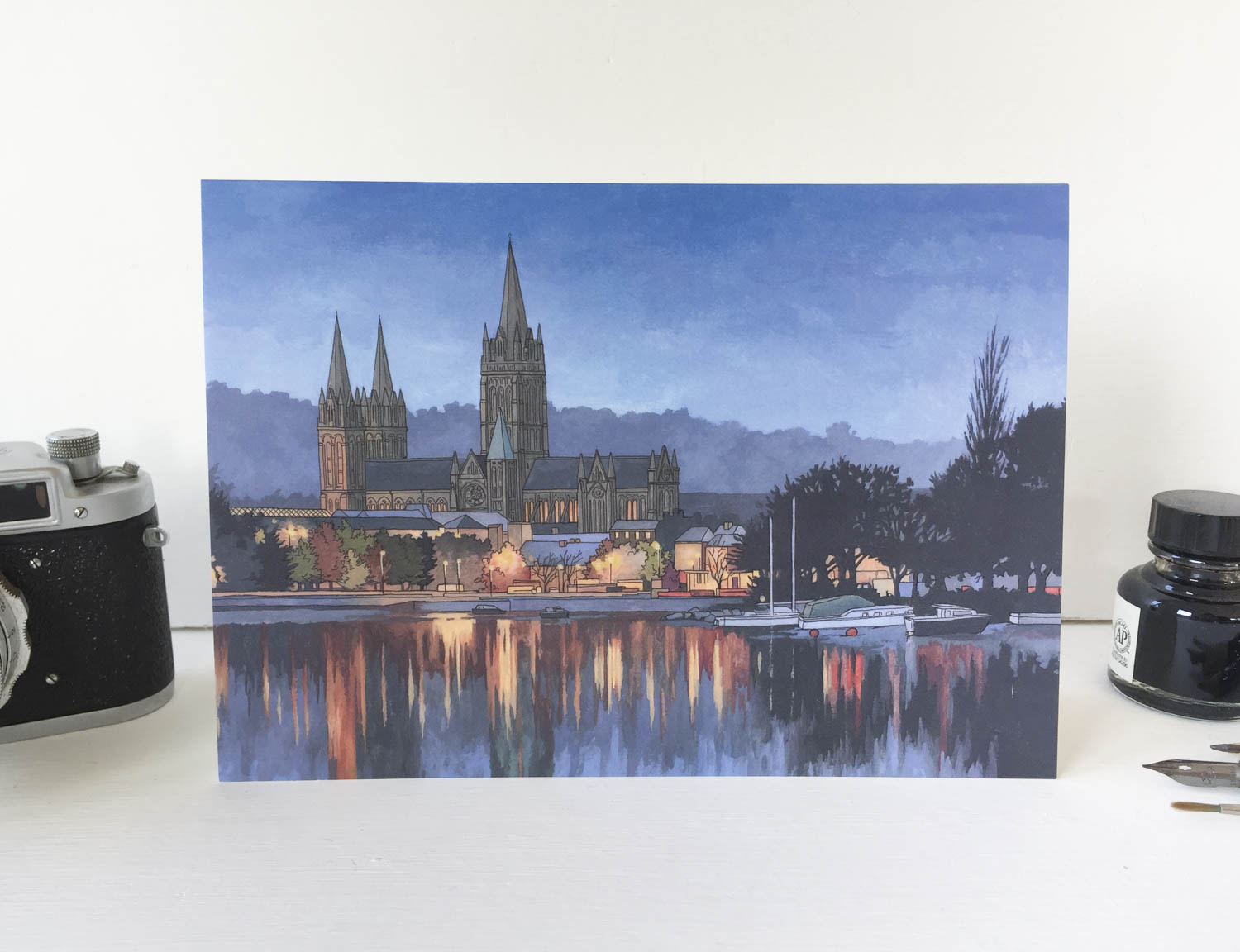 Truro Cathedral in Blue Greeting Card – Illustration by Jonathan Chapman-2