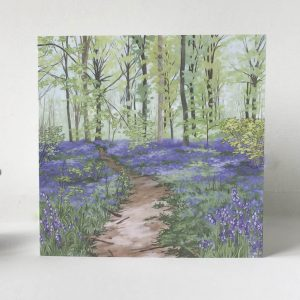 Bluebell Woods Greeting Card - Illustration by Jonathan Chapman