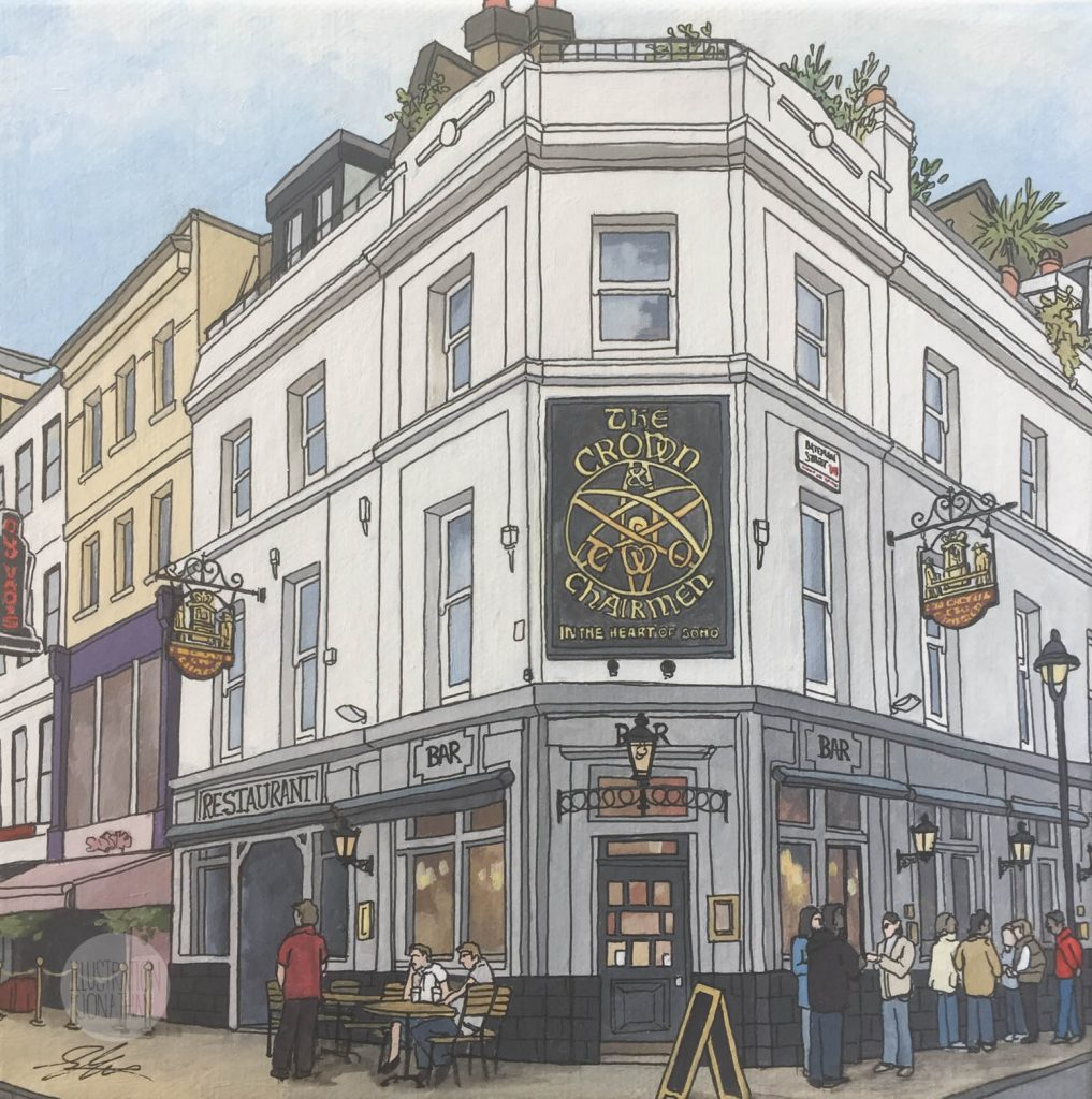 Pub Paintings, The Crown and Two Chairmen - Illustration by Jonathan Chapman