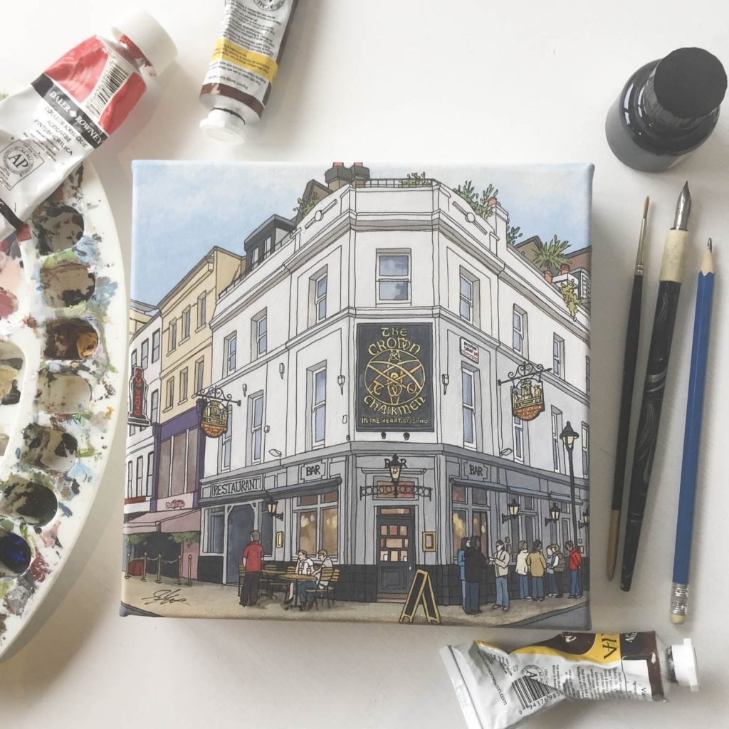 Pub Paintings, the Crown and Two Chairmen on mini canvas by artist and Illustrator Jonathan