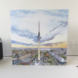 Berliner Fernsehturm Greeting Card - Illustration by Jonathan Chapman