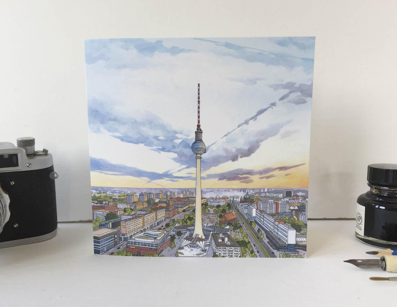 Fernsehturm Berlin Greeting Card – Illustration by Jonathan Chapman-2