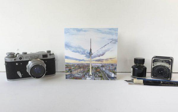 Berliner Fernsehturm Greeting Card - Illustration by Jonathan Chapman