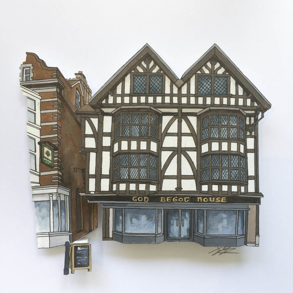 Painting of the God Begot House in Winchester Illustration by Jonathan Chapman