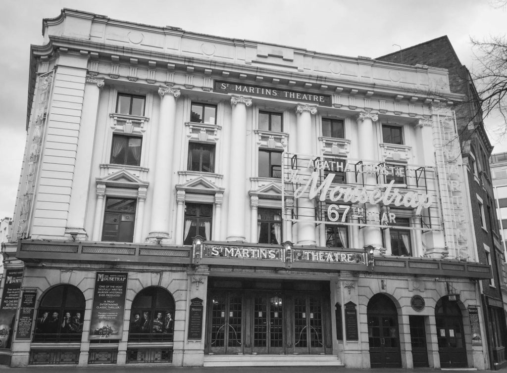 Black and white photo of the Mousetrap at St Martin's Theatre, London -  Photo by Illustrator Jonathan Chapman