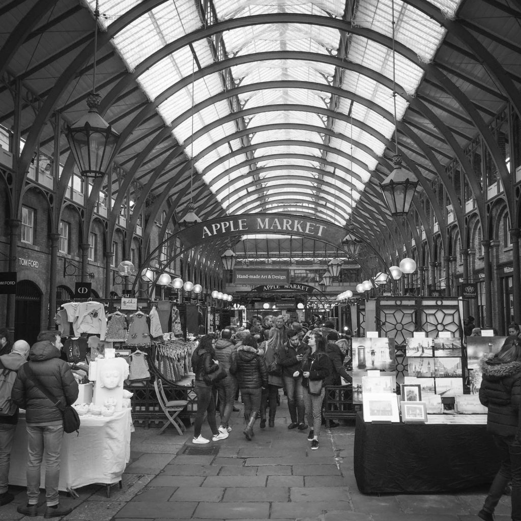 Black and White photo of the Apple Market in Covent Garden, London - Photo by Illustrator Jonathan Chapman
