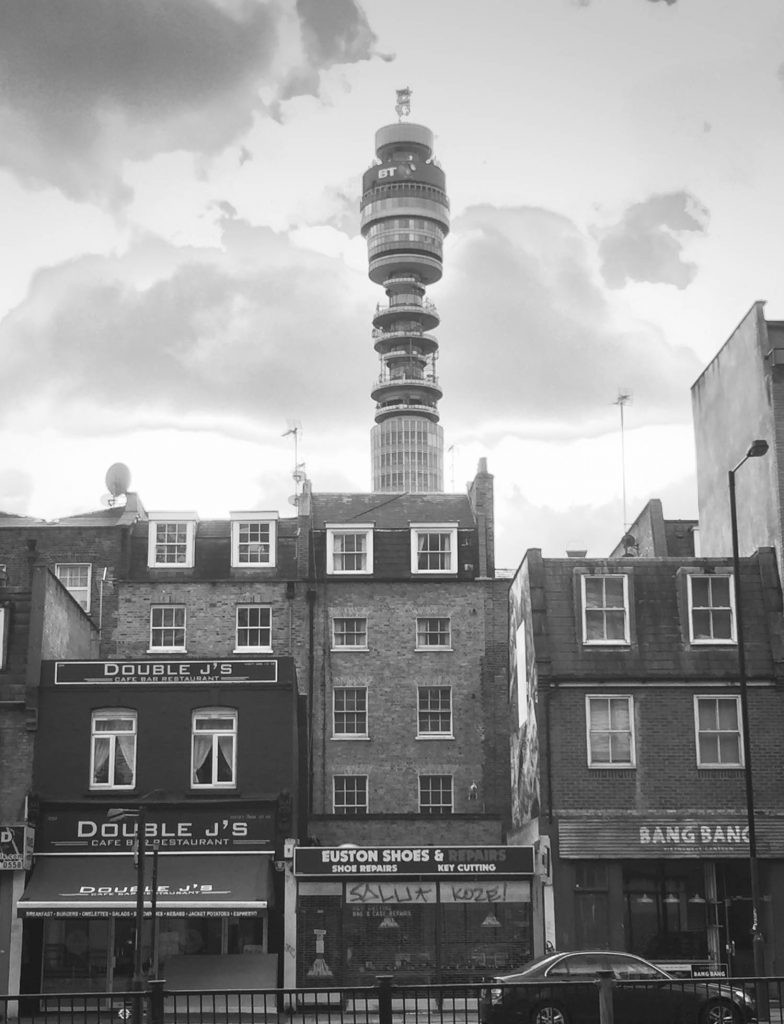 BT Tower and Shopfronts, London Wandering Photo Inspiration - Illustration by Jonathan Chapman