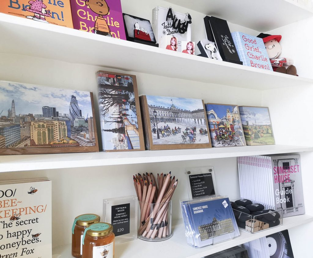 Display of illustrated cards, featuring London scenes, at the Somerset House Shop
