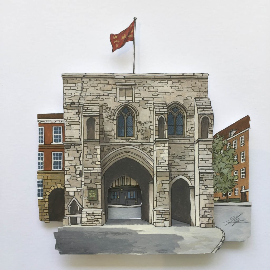 Painting of the Westgate in Winchester Illustration by Jonathan Chapman