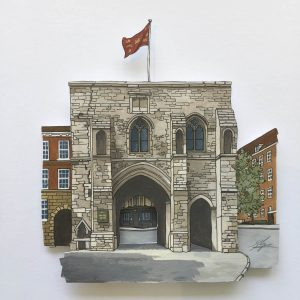 Painting of the Westgate Museum in Winchester Illustration by Jonathan Chapman