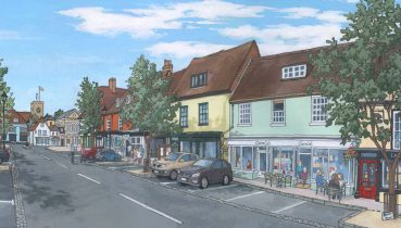 Alresford Broad Street - Illustration by Jonathan Chapman