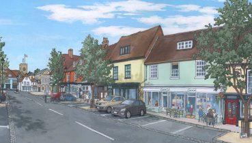 Alresford Broad Street - Illustration by Jonathan Chapman