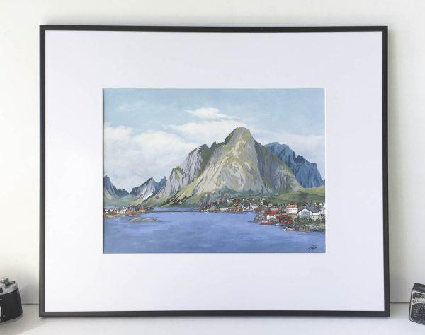 Lofoten Islands Norway Original Painting - Illustration by Jonathan Chapman