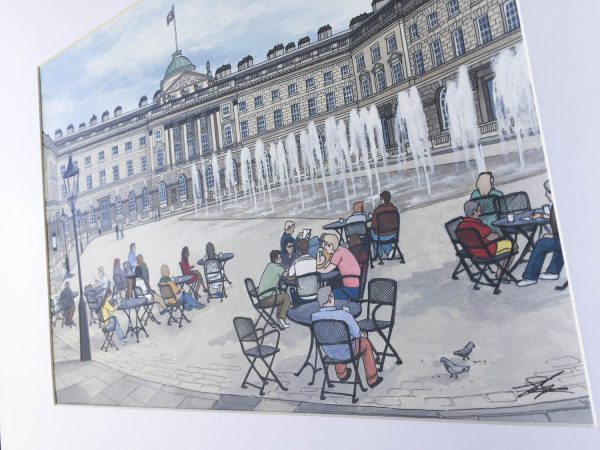 Somerset House in Summer Original Painting - Illustration by Jonathan Chapman