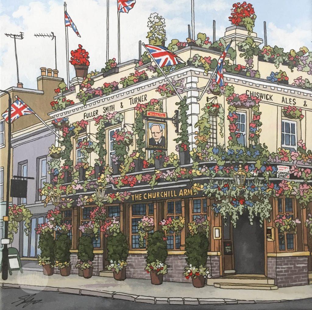 The Churchill Arms - Illustration by Jonathan Chapman