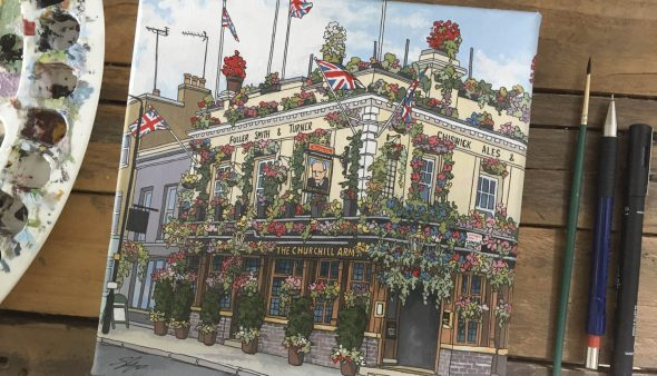 The Churchill Arms - Illustration by Jonathan Chapman