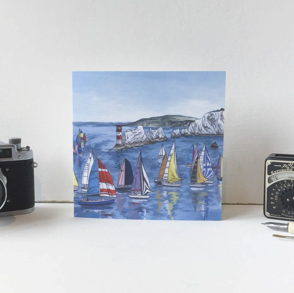 Round the Island Race Greeting Card - Illustration by Jonathan Chapman