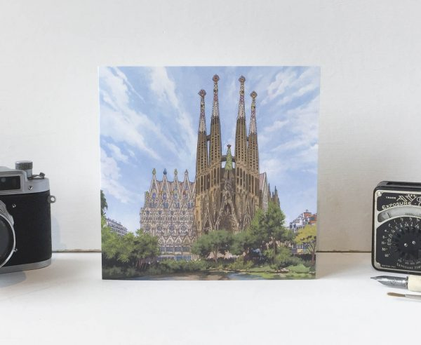 Sagrada Familia Greeting Card - Illustration by Jonathan Chapman