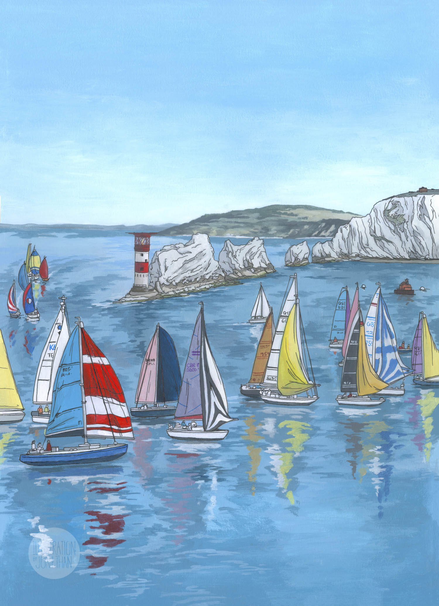 Round the Island Race - Illustration by Jonathan Chapman
