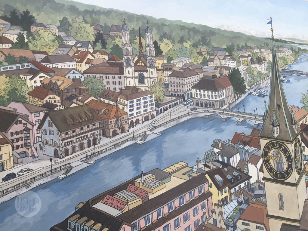 View Over Zurich - Illustration by Jonathan Chapman