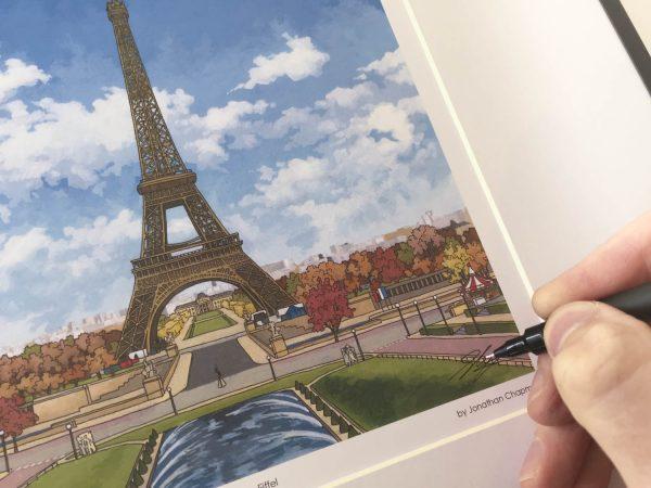 Eiffel Tower Paris Limited Edition Print - Illustration by Jonathan Chapman