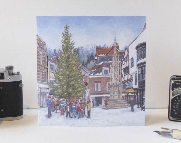 Carols Around The Christmas Tree Greeting Card - Illustration by Jonathan Chapman