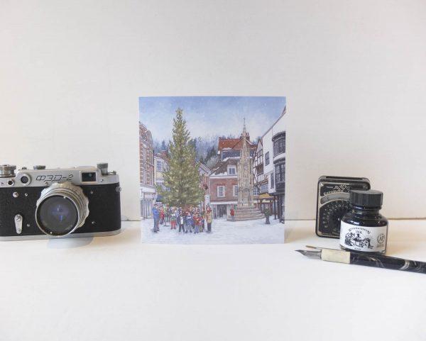 Carols Around The Christmas Tree Christmas Card - Illustration by Jonathan Chapman