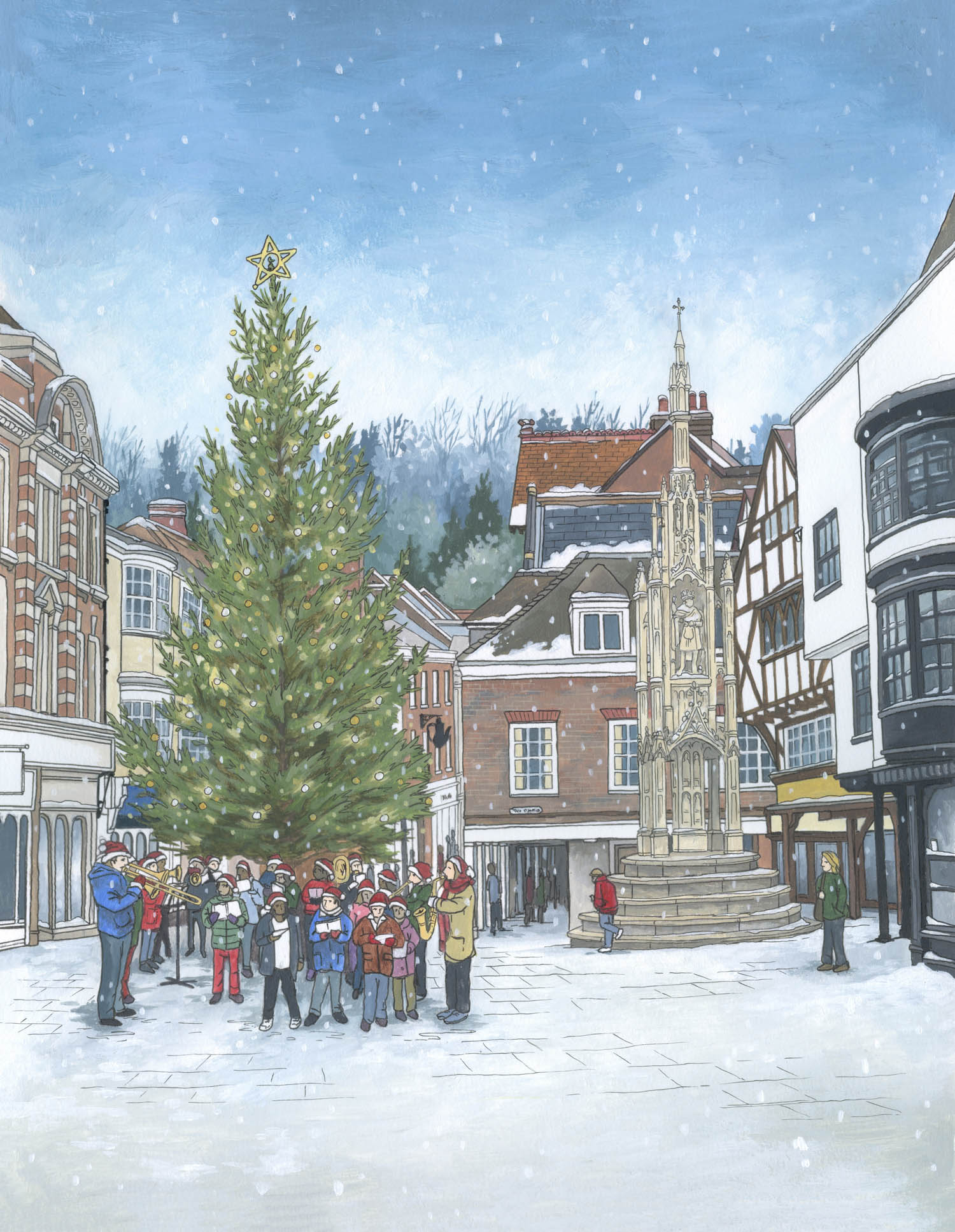 Carols Around the Christmas Tree - Illustration by Jonathan Chapman