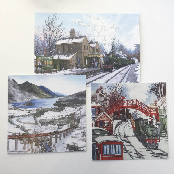 Winter Railway Greeting Card Bundl
