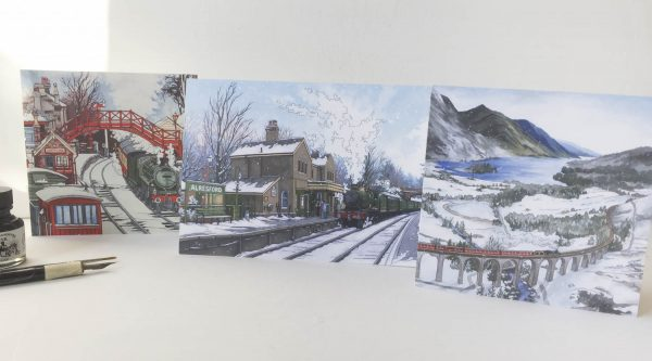 Winter Railway Greeting Card Bundle - Illustration by Jonathan Chapman