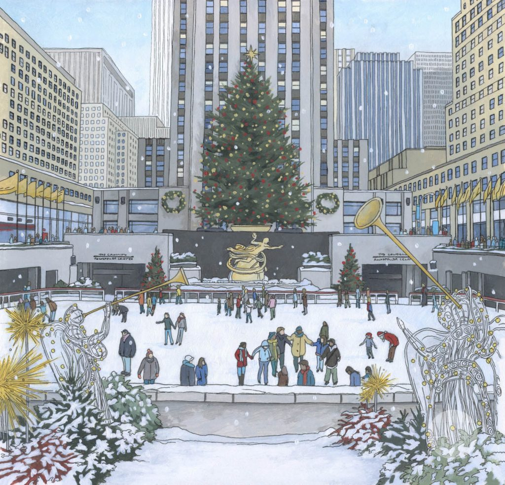 Rockefeller Christmas Tree - Illustration by Jonathan Chapman